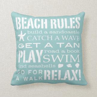 Beach Rules By the Seashore Soft Aqua & White Cushion