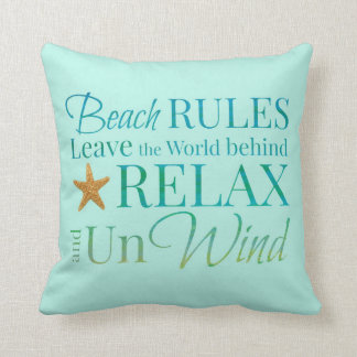 Beach Rules Typography Pillow