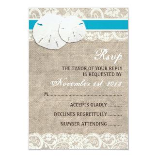 Beach Rustic Burlap Lace RSVP Card - Malibu 9 Cm X 13 Cm Invitation Card