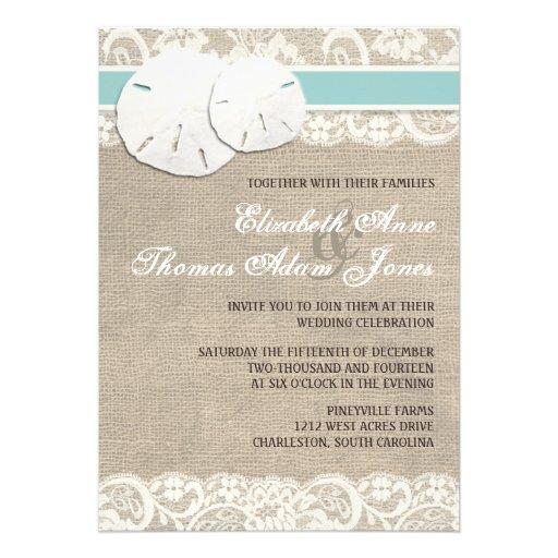Beach Rustic Burlap Lace Wedding Invitation