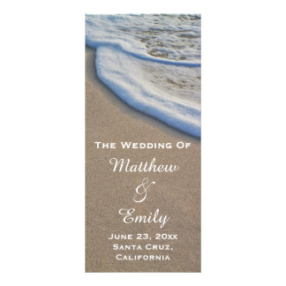 Beach Sand and Sea Foam Wedding Program Rack Card
