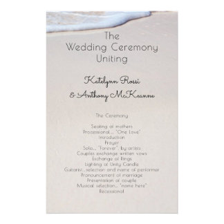 Beach Sand Custom Affordable Wedding Program Flyer