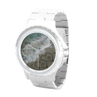 Beach Sand Hearts Custom Initials Wristwatches