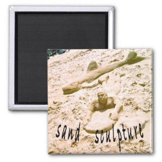 Beach Sand Sculpture Square Magnet