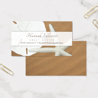 Beach Sand Seashells Simple Business Card Template