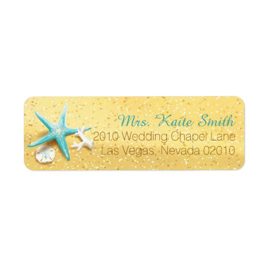 Beach Sand Seashells Wedding Label Return Address Label