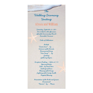 Beach Sand Tall Wedding Program Templates Rack Card
