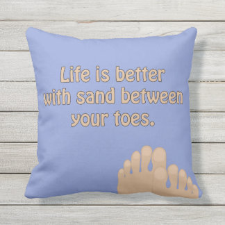 Beach Sand Toes Ocean Blue Pillow