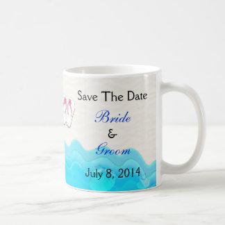 Beach Sandals Wedding Save The Date Mugs