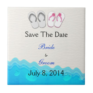 Beach Sandals Wedding Save The Date Tiles
