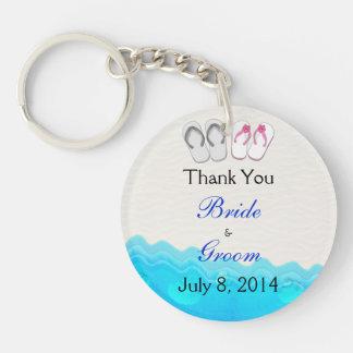 Beach Sandals Wedding Thank You Double-Sided Round Acrylic Key Ring