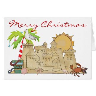 Beach Sandcastle Christmas Card