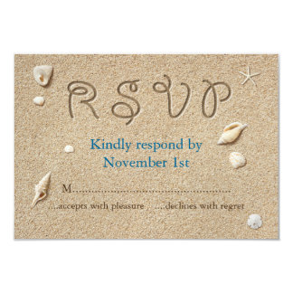 Beach Sandy Toes Salty Kisses RSVP Card