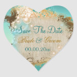 "Beach ""save the date"" wedding aqua white heart sticker"