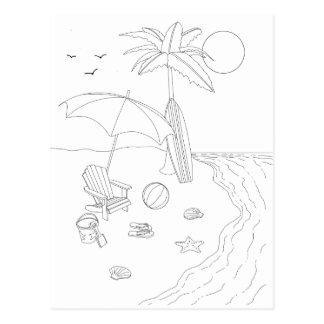 Beach Scene Adult Coloring Postcard