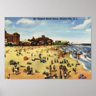 Beach Scene, Atlantic City Vintage Poster