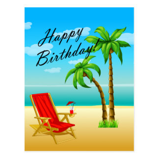 Beach Scene Birthday Postcard