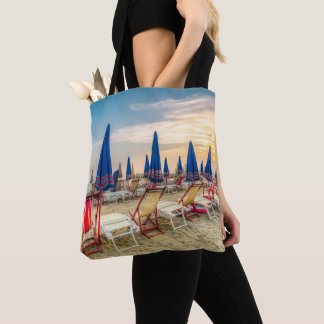 Beach Scene Chairs and Umbrellas Tote Bag