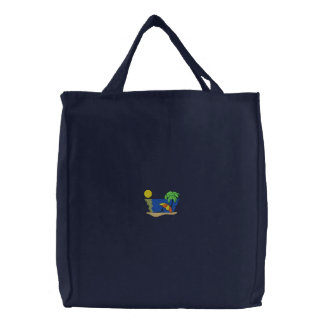 Beach Scene Embroidered Tote Bags