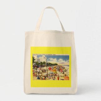 Beach Scene Fort Lauderdale Florida Vintage Tote Bags