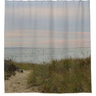 Beach scene late afternoon shower curtain