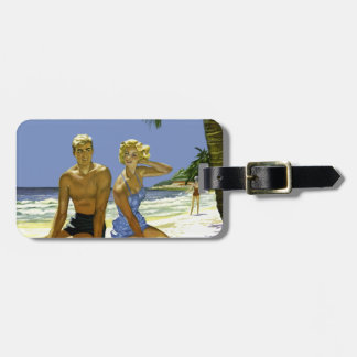 Beach scene luggage tag
