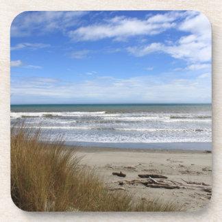 Beach Scene Plastic coasters with cork back