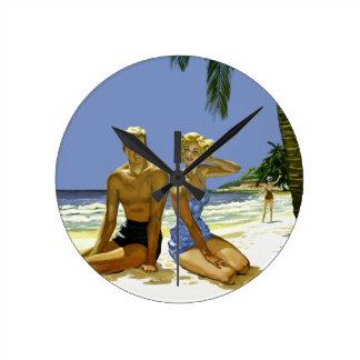 Beach scene round clock
