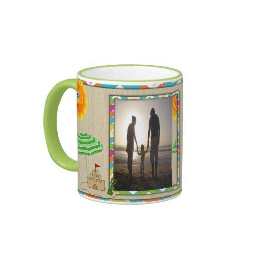 Beach Scene, Sun, Sand, Sandcastle Photo Template Coffee Mug