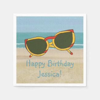 Beach Scene Sunglasses Name Birthday Napkins Paper Napkin