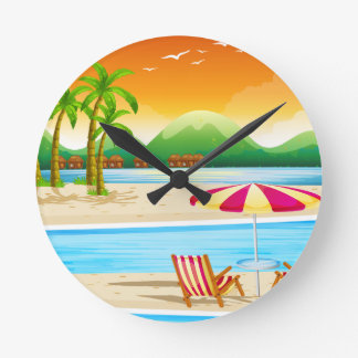 Beach scene with chairs and umbrella round clock