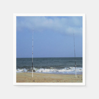 Beach Scene With Fishing Poles Disposable Serviette
