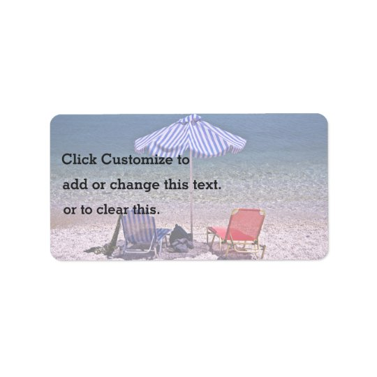 Beach scene with resting chairs address label