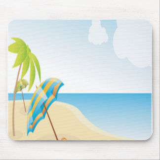Beach Scene with Umbrella, Palm Trees & Beach Ball Mouse Pad