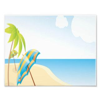 Beach Scene with Umbrella, Palm Trees & Beach Ball Photo