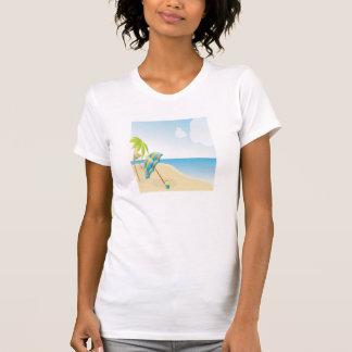 Beach Scene with Umbrella, Palm Trees & Beach Ball T Shirt