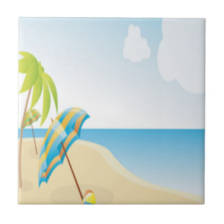 Beach Scene with Umbrella, Palm Trees & Beach Ball Ceramic Tiles