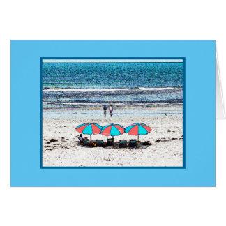 Beach scene with umbrellas (note card) card