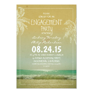 beach sea waves & palms engagement party invite