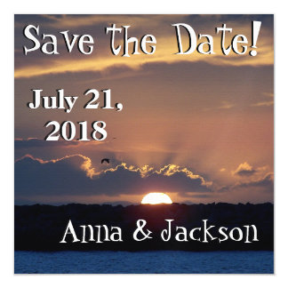 Beach Seagull Sunset Save Date Magnet Card Magnetic Invitations