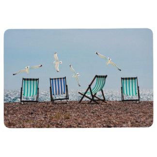 Beach Seagulls and Deckchairs Floor Mat