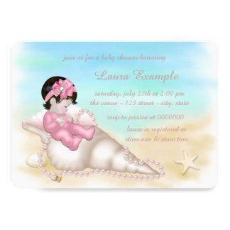Beach Seashell Baby Girl Shower Card