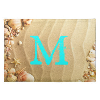 Beach Seashells Hawaii Monogram Initial Place Mat