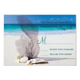 Beach Seashells Sand Destination Wedding RSVP 9 Cm X 13 Cm Invitation Card