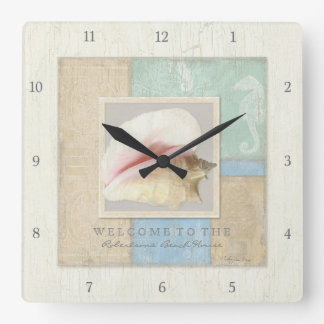 Beach Seashore Ocean Welcome Guest Wooden Boards Square Wall Clock