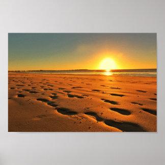 Beach Seaside Ocean Sunset Sundown Sand Poster