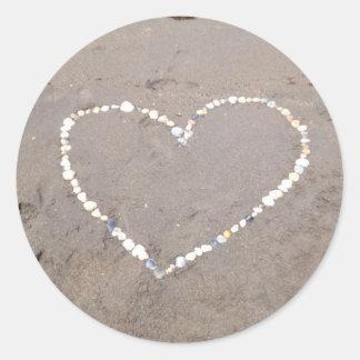 Beach Shell Heart Classic Round Sticker