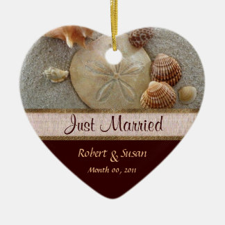 Beach Shells Heart Shaped Wedding Favor Ceramic Heart Decoration