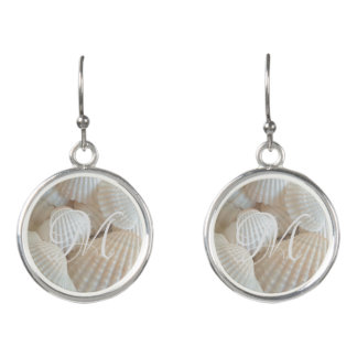 Beach Shells White Seashells Monogrammed Earrings