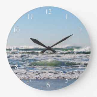 Beach Shore Waves Small Numbers Large Clock